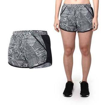 【UNDER ARMOUR】UA HG FF 1.0女花色慢跑短褲 格紋黑白  內裡設計