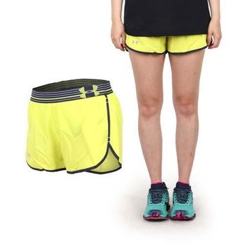【UNDER ARMOUR】UA HG 3吋女慢跑短褲 芥茉黃丈青  內側小口袋