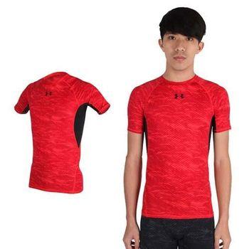 【UNDER ARMOUR】UA HG ARMOUR 男花色短袖T恤 紅黑  腋下透氣網布