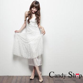 CANDY小舖 性感細肩帶低胸下擺蕾絲長洋裝 2色選