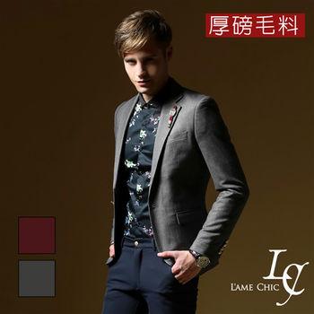 L AME CHIC  韓國製 雕花金釦毛呢西裝外套(現貨-酒紅)