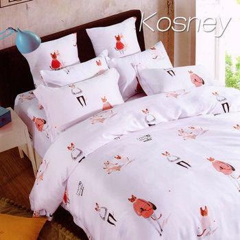 【KOSNEY】貓小姐的閒   加大100%天絲TENCE六件式兩用被床罩組