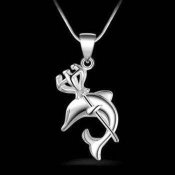 【米蘭精品】925純銀項鍊吊墜精選歐美優雅可愛海豚造型