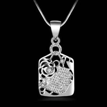 【米蘭精品】925純銀項鍊吊墜獨特精緻歐美時尚玫瑰造型