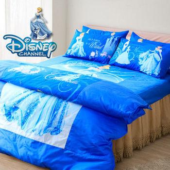 【R.Q.POLO】迪士尼-仙履奇緣(精梳棉/雙人標準床包兩用被四件組-5X6.2尺)