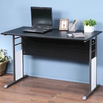 Homelike 巧思辦公桌 炫灰-黑色仿馬鞍皮120cm