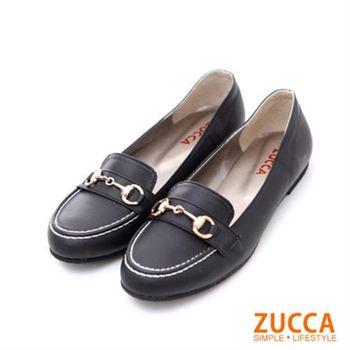 【ZUCCA】Z5603BK紳士風金扣漆皮包鞋-黑色