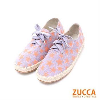 【ZUCCA】Z5612PE休閒星星繽紛繫帶帆布鞋-紫色