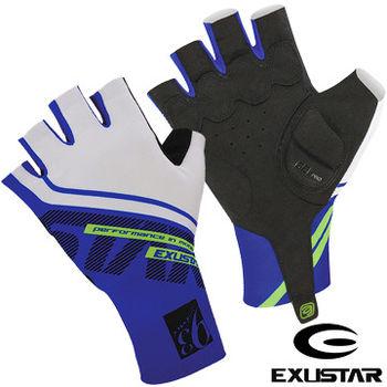 EXUSTAR 自行車半指手套(藍)XL