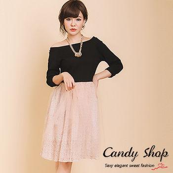 Candy小舖 素面一字領長袖拼接網紗小花朵洋裝 現購+預購 2 色選
