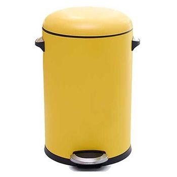 PUSH! 居家生活用品 colourful液壓緩降圓型垃圾桶 置物桶 8升I21-1黃色