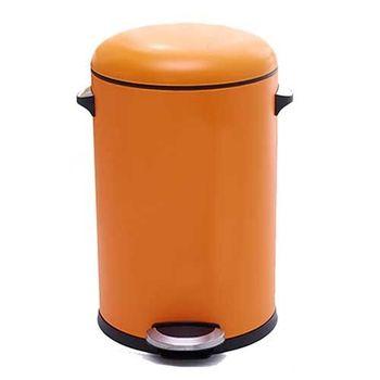 PUSH! 居家生活用品 colourful液壓緩降圓型垃圾桶 置物桶 8升I21橙色