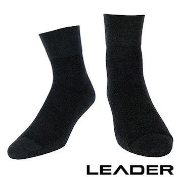 LEADER 除臭去味 紳士素面短筒寬口襪(黑色)台灣製