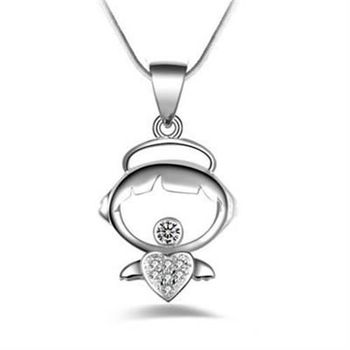 【米蘭精品】925純銀項鍊吊墜精緻優美心形風格