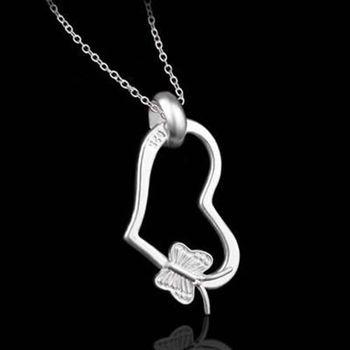 【米蘭精品】925純銀項鍊吊墜時尚可愛心形風格