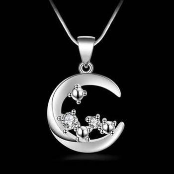 【米蘭精品】925純銀項鍊吊墜獨特精美月亮造型