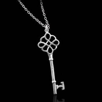【米蘭精品】925純銀項鍊吊墜獨特精緻歐美鑰匙風格