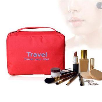 【ZARATA】大容量旅行多功能收納盥洗化妝包(紅色)