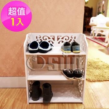 【Osun】DIY木塑板置物架 歐式白色雕花三層鞋架 (CE-178_XJ-001)