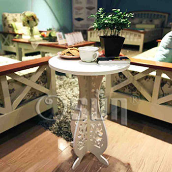 【Osun】DIY木塑板歐式白色巴洛克雕花小圓桌(CE-178-小圓桌)