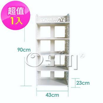 【Osun】DIY木塑板置物架 歐式白色雕花五層鞋架 (CE-178_XJ-005)