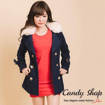 CANDY小舖 毛毛翻領雙排扣修身毛呢大衣外套