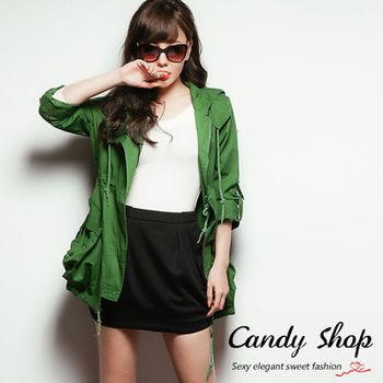 Candy小舖 前拉鍊式雙口袋收腰設計連帽長版風衣外套
