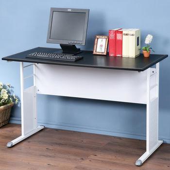 Homelike 巧思辦公桌 亮白-黑色仿馬鞍皮120cm