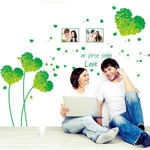 窩自在★DIY無痕創意牆貼/壁貼-綠色愛心草相框_AY7176C(50X70)