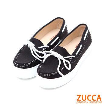 ZUCCA【Z5615BK】樂活感繫帶式休閒鞋-黑色