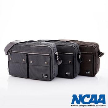 NCAA 側背波特包 紳士餅乾包 直紋尼龍隨身機車斜大包(棕、深灰、黑)
