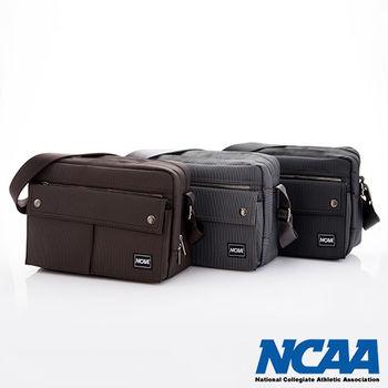NCAA 側背波特包 紳士餅乾包 直紋尼龍隨身機車斜中包(棕、深灰、黑)