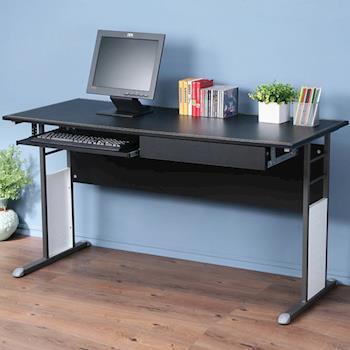 Homelike 巧思辦公桌炫灰-黑色仿馬鞍皮140cm(附抽屜.鍵盤架)