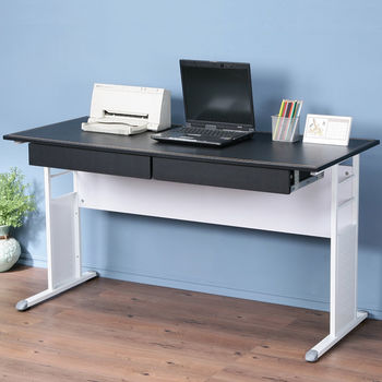 Homelike 巧思辦公桌 亮白-黑色仿馬鞍皮140cm(附二抽屜)