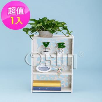 【Osun】DIY木塑板置物架 歐式白色雕花三層櫻花書架(CE-178_YH8240)
