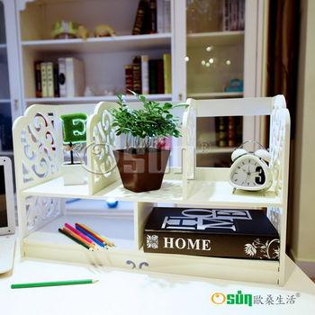 【Osun】DIY木塑板白色雕花桌上型書架(BLK60)
