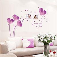窩自在~DIY無痕 牆貼 壁貼~紫色愛心草相框_AY7176D 50X70