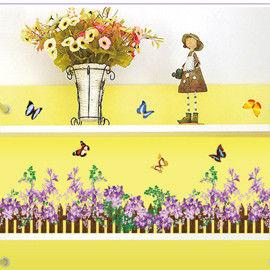 窩自在★DIY無痕創意牆貼/壁貼-紫色小柵欄_AY756A(50X70)