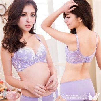 【伊黛爾】時尚內衣 玫瑰刺繡蕾絲曲線性感內衣套組 B/C罩32-40 淡雅紫(台灣製)