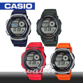【CASIO 卡西歐】新色發表-亮麗運動錶_中性錶_防水_世界時間(AE-1000W)