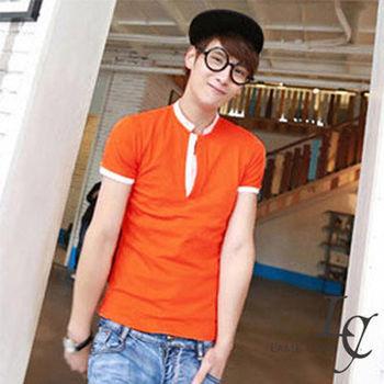 L AME CHIC 韓國英倫休閒極簡多色素面小立領窄版修身POLO衫