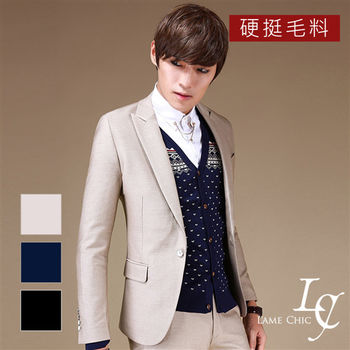 L AME CHIC 硬挺毛料白色鈕釦修身西裝外套(現貨-藍)