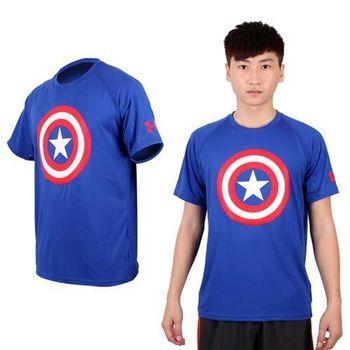 【UNDER ARMOUR】UA 男HG ALTEREGO短袖T恤-美國隊長 藍紅白  吸濕排汗