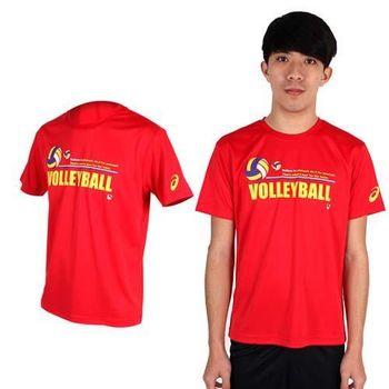 【ASICS】男排球短袖T恤- 圓領 亞瑟士 紅黃 抗UV