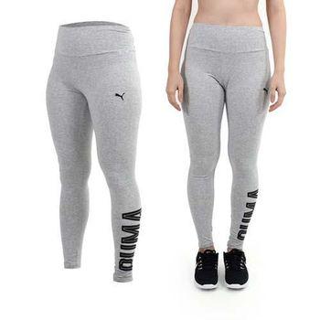 【PUMA】女緊身長褲-棉褲 緊身褲 灰黑  90%棉