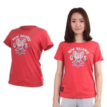 【NEWBALANCE】女短袖T恤-純棉 棉T 圓領 慢跑 路跑 NB 紅白  100%棉