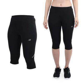 【NEWBALANCE】女運動七分褲-緊身褲 慢跑 路跑 NB 黑銀  後方內袋設計