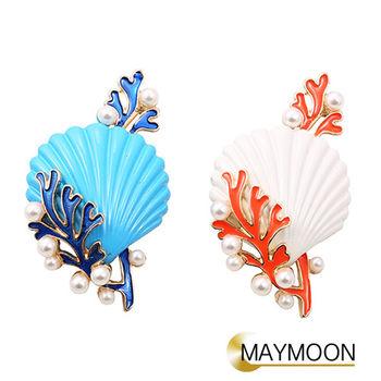 美玥珠寶 珊瑚貝殼珍珠滴釉琺琅胸針