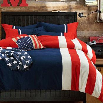 RODERLY 美國隊長 貼布繡 加大四件式兩用被床包組