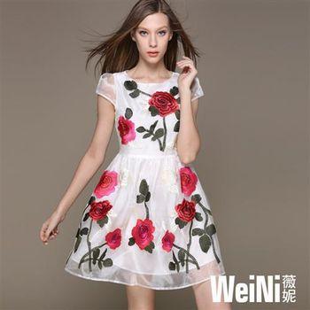 【WeiNI薇妮】圓領玫瑰透膚肩袖玫瑰連身洋裝(白色)